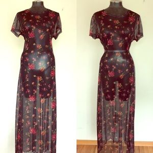 Molly Malloy 90's Mesh Rose Printed Maxi Tee Dress